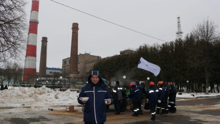Солдатский фуршет на морозе для мужчин филиала «Жодинская ТЭЦ»